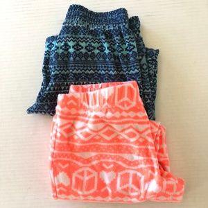 Bundle of 2 Fleece Pajamas Pants Girls
